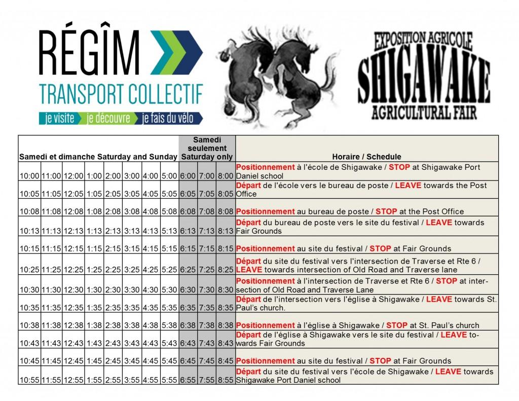 Horaire des navettes au Festival de Shigawake